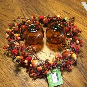 Wreath and 2 Glass Pumpkins Fall Decor